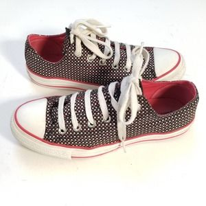 Converse All Stars Low Tops Shoes Black Red Mens 7